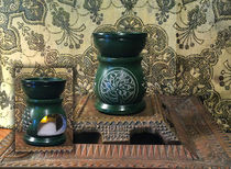 Green Soapstone Candle Heater
