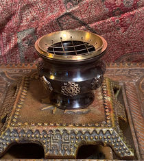 Tibetan Chakra Censer - with Screen and carved Coaster